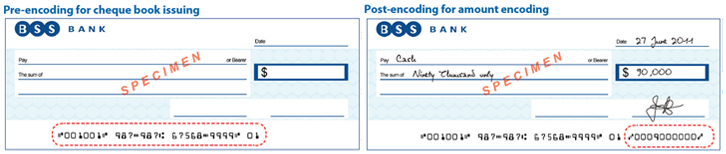 MICR encoding for cheque book issuing